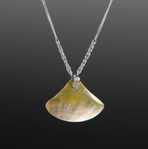 Silver Necklace with Mother of Pearl by Coco Paniora Salinas
