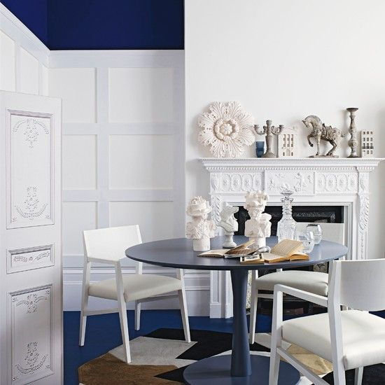 Royal Blue And White Dining Room