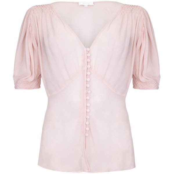 Ghost Thea Blouse, Nude (13.990 RUB) via Polyvore featuring tops, blouses, rayon blouse, nude blouses, ruched v neck top, smock tops и smocked top