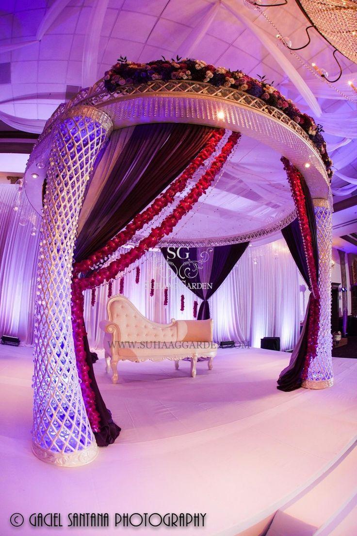 Arabic Wedding Mandap, Indian wedding mandap, Reception stage, Suhaag Garden, Florida wedding decorator, ceiling drapes