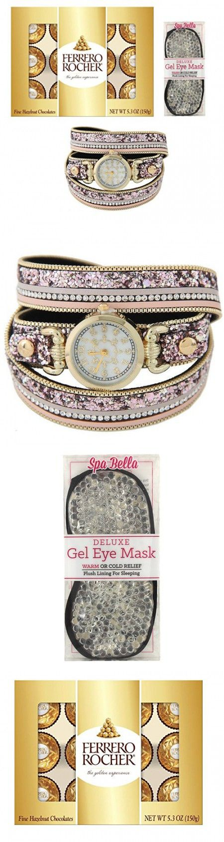 Cute Lady Gift Set Includes Ferrero Rocher Chocolates, Spa Bella Gel Eye Mask, And Fashion Watch