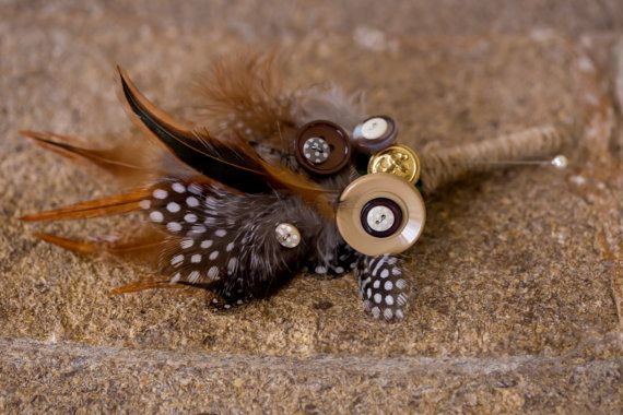 button flower and felt buttonholes boutonniere by PumpkinandPye, £10.00