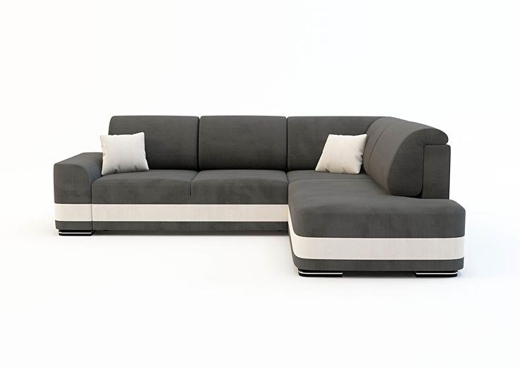 NAROŻNIK LOGAN  Narożnik Logan z funkcją spania i mechanizmem ułatwiającym rozkładanie oraz pojemnikiem na pościel. Profilowane poduszki służą jako stabilne oparcie i pozwalają utrzymać ład na kanapie. Zapewniają też lepszą ergonomię podparcia. Narożnik został wykonany w dwóch kolorach. Sprężyna falista w połączeniu z piankami zapewnia doskonały komfort siedzenia i spania. Drewniane nóżki z chromowaną wstawką podkreślają charakter narożnika.         FUNKCJA SPANIA  Narożni