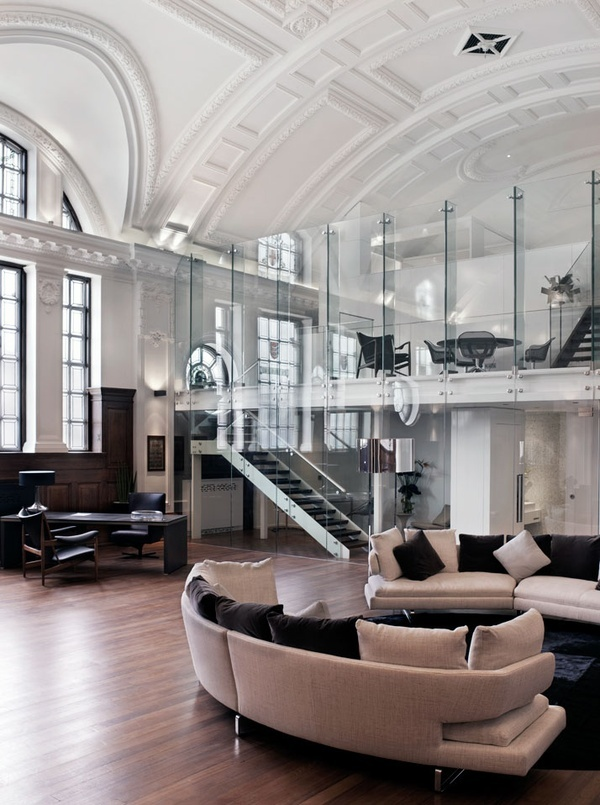 not crazy about all that modern glass, but the ceiling and walls are amazing!
