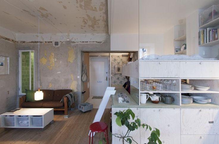 Ruotsalaisen arkkitehdin Karin Matzin suunnittelema 36-neliöinen asunto Tukholmassa Heleneborgskatanilla. Kohteen nimi on HB6B – one home.