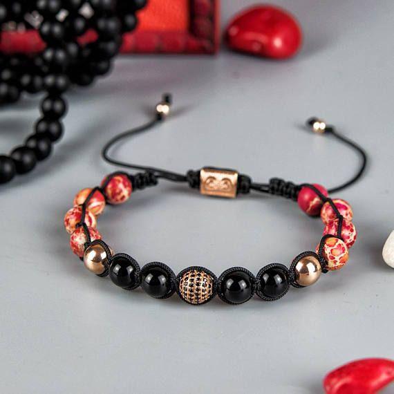JASPER  Mens Shamballa Bracelet Handcrafted Bracelet 925