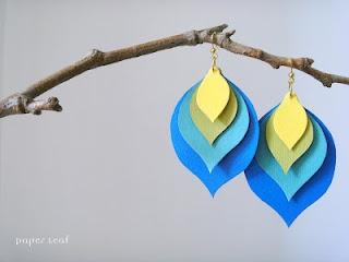 Orecchini BluePeacock realizzati con carta di cotone nei colori Cobalt, Cornflower, Apple e Pineapple. Splendidi, colorati ed allegri. Ah che voglia di estate!