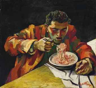 Renato Guttuso - Man eating spaghetti