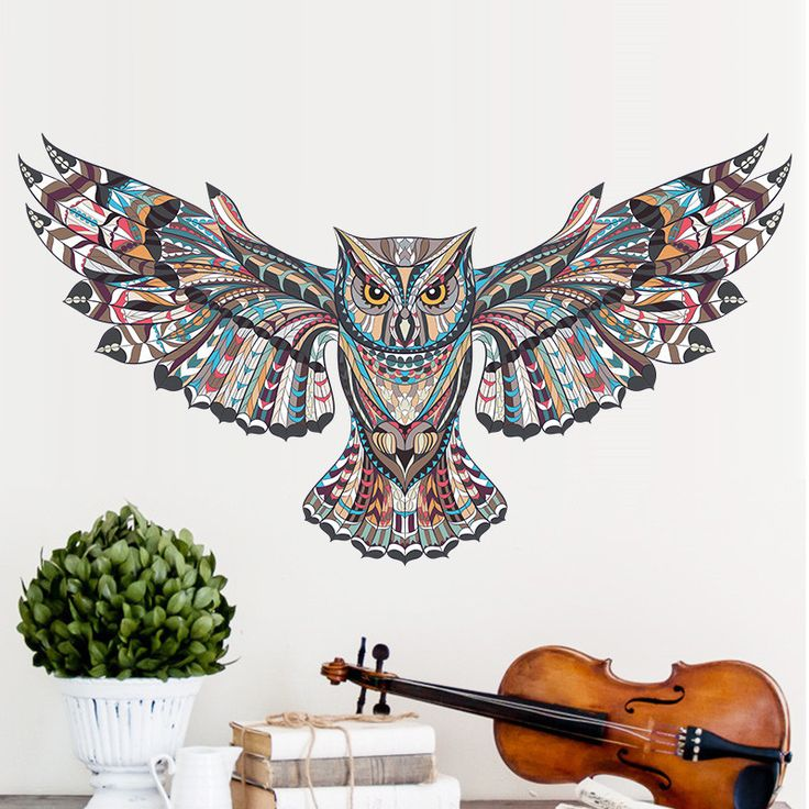 Painted Owl Art Wall Sticker //Price: $8.74 & FREE Shipping //     #DIY