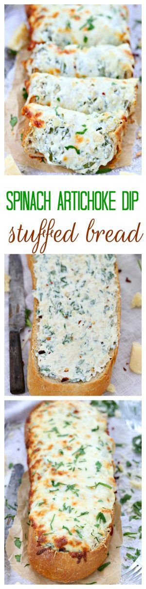 Three types of cheese and a dollop of yogurt make this spinach artichoke dip stuffed bread incredibly creamy and cheesy. It is a guaranteed hit with the crowd and always disappears – no leftovers in sight!