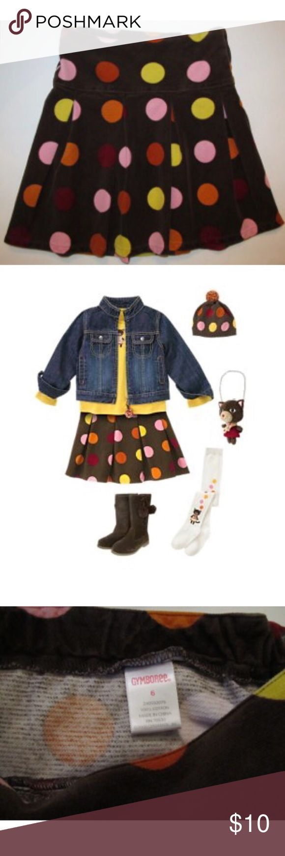 Gymboree polka Dot velour Skirt Purrfect Autumn 🍂 Adorable Gymboree dot skirt from the Purrfect Autumn collection in size 6.  Velour soft texture.  Brown with colorful dots of pink, orange, yellow, & red.  Pleats. Inner adjustable waist & side zip. Excellent pre-owned condition. Gymboree Bottoms Skirts