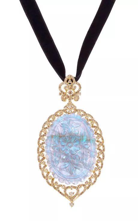 Sapphire And Diamond Necklace by Bochic for Preorder on Moda Operandi