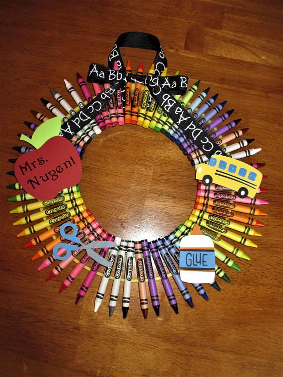 Crayon wreath teacher gift back to school gift personalized