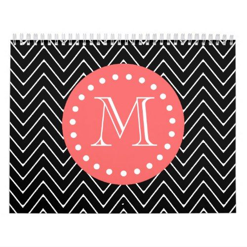 Black and Coral Chevron with Custom Monogram Calendar