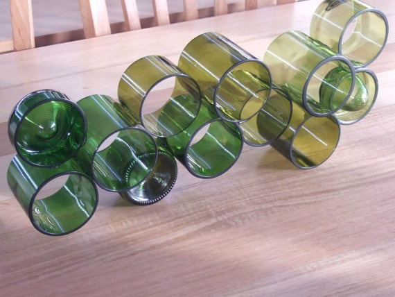 Bottle art made from recycled wine bottles, all hand cut and polished.