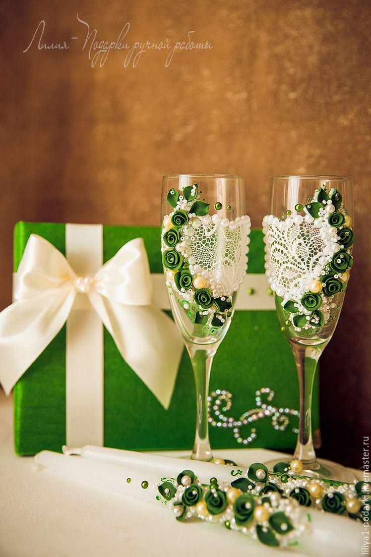 """Свадебный набор """"Кружево любви"""" - разноцветный, свадьба, свадьба в зеленом цвете, свадебные аксессуары"""