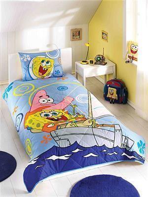 Taç Sponge Bob Boat Tek Kişilik Yatak Örtüsü | cazip geldi
