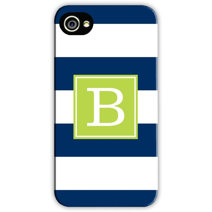 Boatman Geller Personalized Cell Phone Case Awning Stripe Navy found on Layla Grayce #laylagrayce #navy #yellow