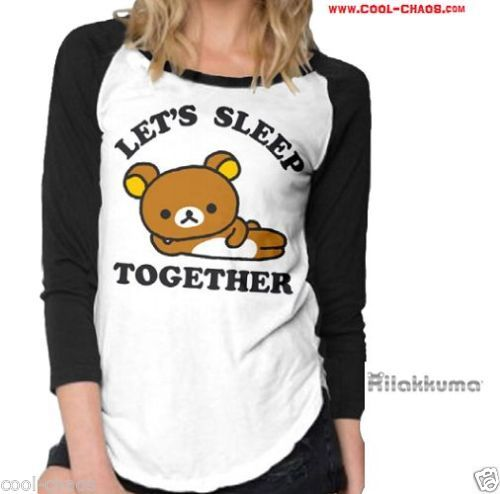 I Love Rilakkuma Baseball T-Shirt-Official Rilakkuma Juniors Raglan / Baseball T-shirt in white and black. Choose from Juniors Available Sizes S-M-L-XL. Cozy and soft, this Rilakkuma fitted Tee let's you relax in the best way possible.•Poly Blend Soft Ladies' White T Shirt with black sleeves. Official Licensed San-X® apparel.