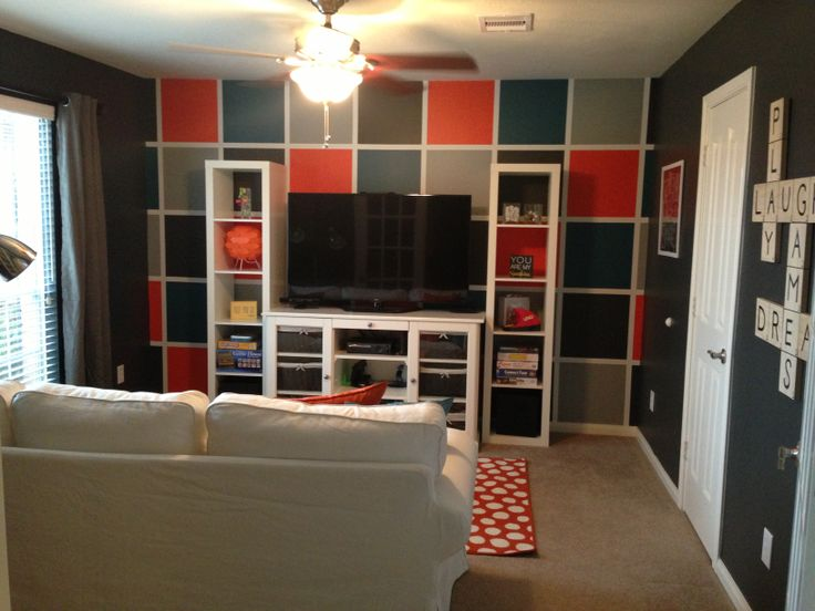 kids game room with checkerboard painted accent wall. Black Bedroom Furniture Sets. Home Design Ideas