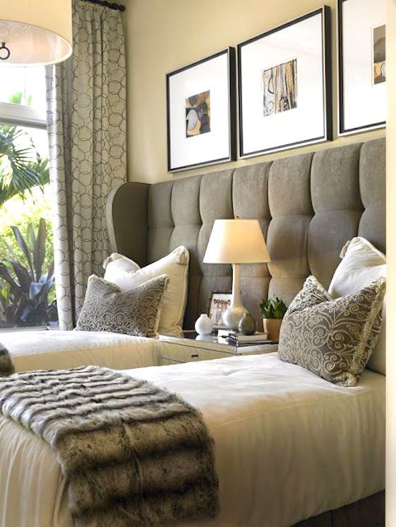 Twin Beds in Guest Room with One Headboard