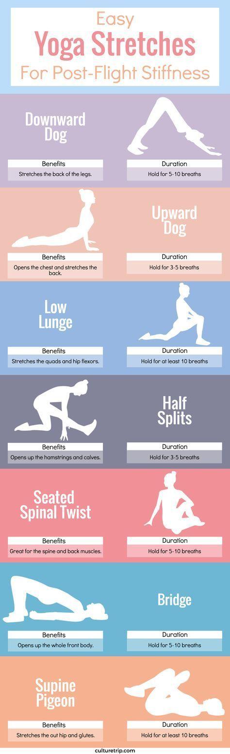 Easy Yoga Stretches For Post-Flight Stiffness  repined by YogiFit.me  yoga | yogi | yogainspiration | fitness | vegetarian