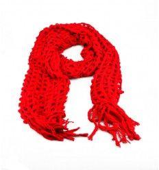 Flot rødt tørklæde i lækker og varmt strik og stof - 503650