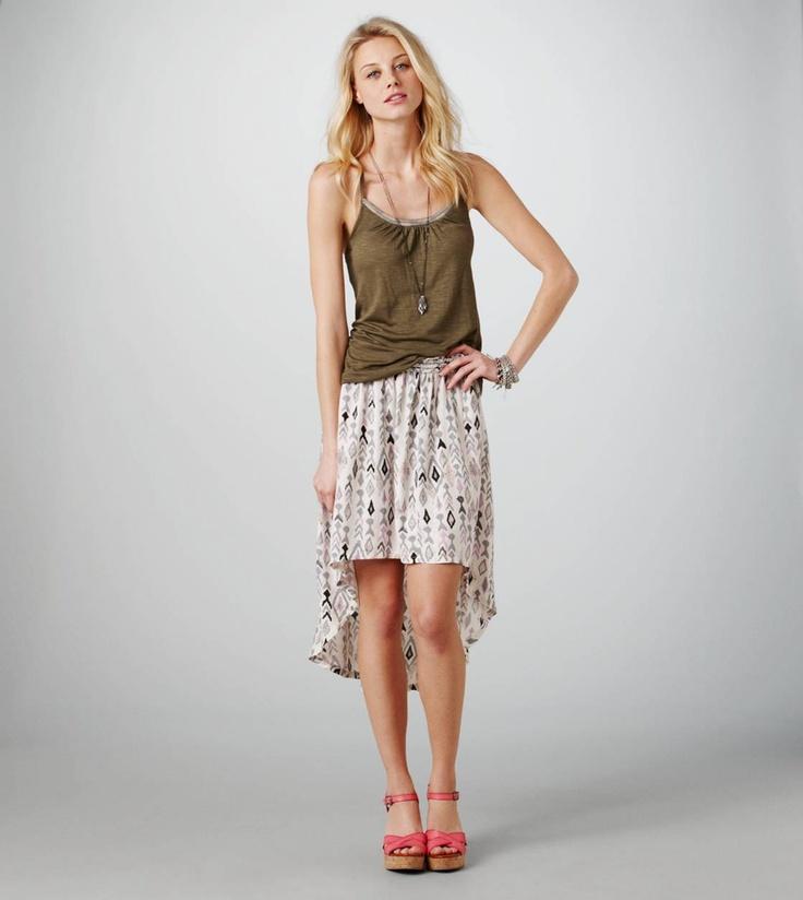 AE Printed Hi-Lo Skirt