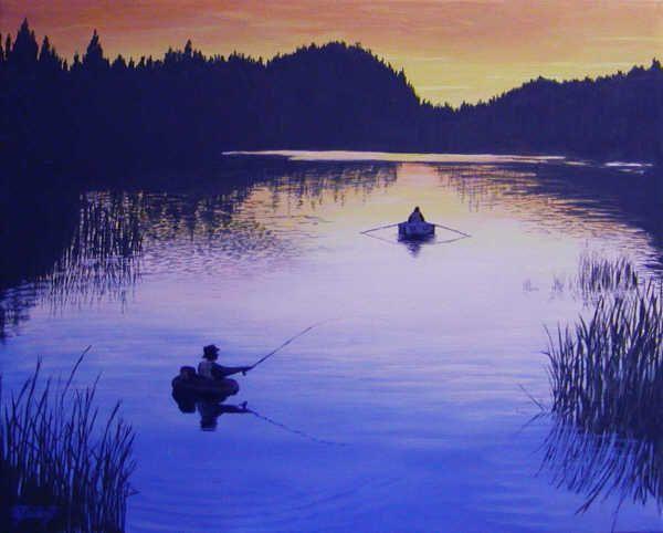 """Fishing"" - acrylic painting by Sheryl Gallant - http://sherylgallant.ca"