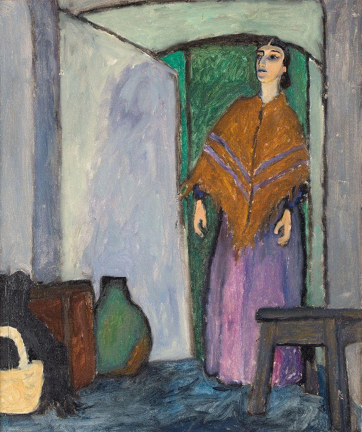 JÓZEF CZAPSKI (1896 - 1993)  KOBIETA WE WNĘTRZU, LATA 80. XX W   olej, płótno / 60 x 50 cm  sygn. p.d.: J.C.