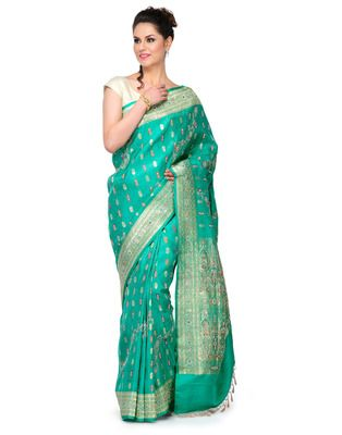 green Jardozi embroidery satin Hand woven saree with blouse 60% Off, Buy now @ Rs 14900