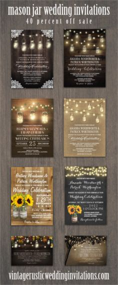 Mason jar wedding invitations in various collections with lace, barn wood, sunflowers, chalkboard backgrounds, fall themes and more.  #masonjarweddinginvitations #mason #jar #wedding #invitations #rusticweddinginvitations #countryweddinginvitations #country #rustic