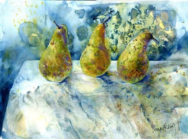 Pears - watercolour and ink