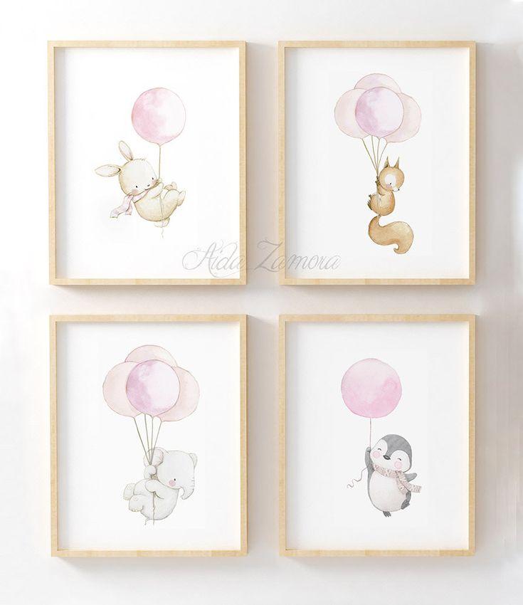 """Satz von vier Baby-Blätter """"ANIMALS mit GLOBES"""" Tier Blätter, Kinder Bild, Kaninchen mit Ballons, Elefant, Aida Zamora"""