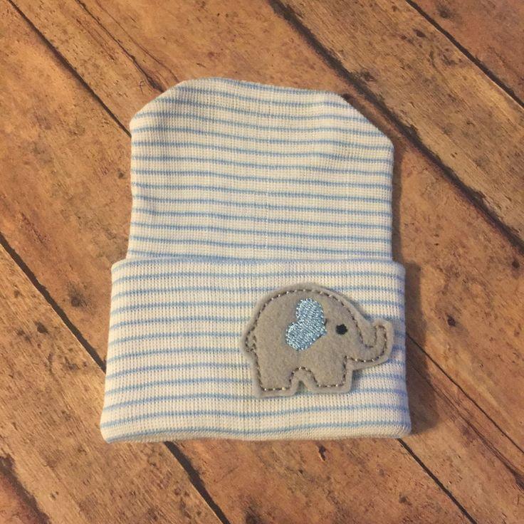 Newborn baby boy hospital hat beenie beanie  - elephant, blue stripes , gift baby shower by BBgiftsandmore on Etsy