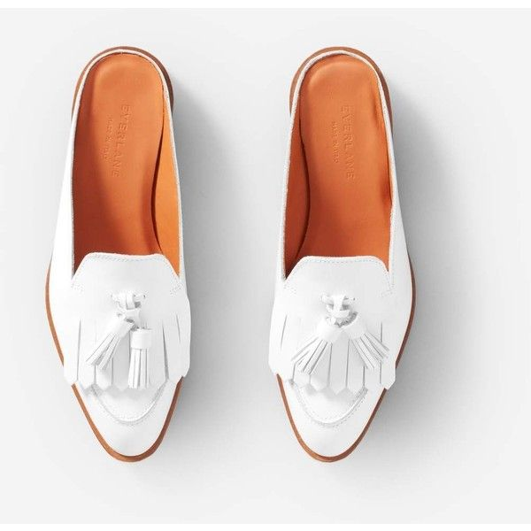 Everlane Women's Tassel Loafers Mule ($165) ❤ liked on Polyvore featuring shoes, loafers, loafer shoes, mule shoes, white mules, white shoes and loafers moccasins