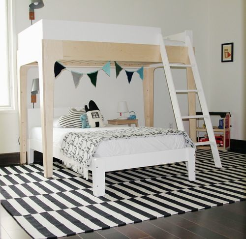 Black and white boys room with pops of colour!