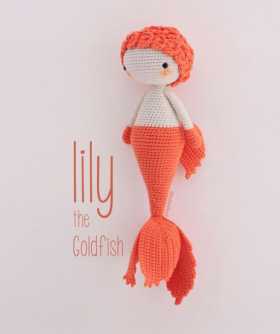 THIS LISTING IS FOR PATTERN ONLY!!!  She is a goldfish from the small fairy lake :) My five years old daughter has 4 gold fishes in an aquarium and she wishes to save all the gold fishes from fishbowls to keep them happy and healty. However she do not have that kind of power, so we