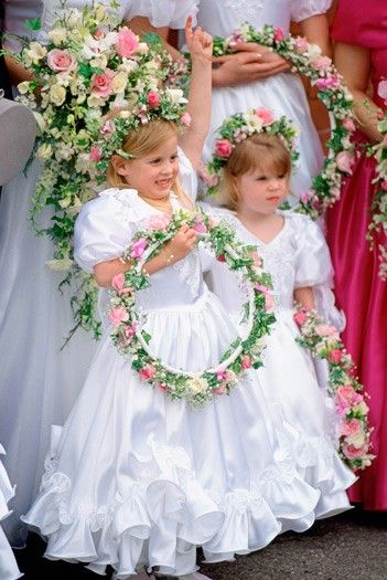 Theprincessesofyork:  1993-Tiny Princesses Beatrice (aged 5) and Eugenie (aged 3) are bridesmaids in Alison Wardley's wedding (their former nannny)