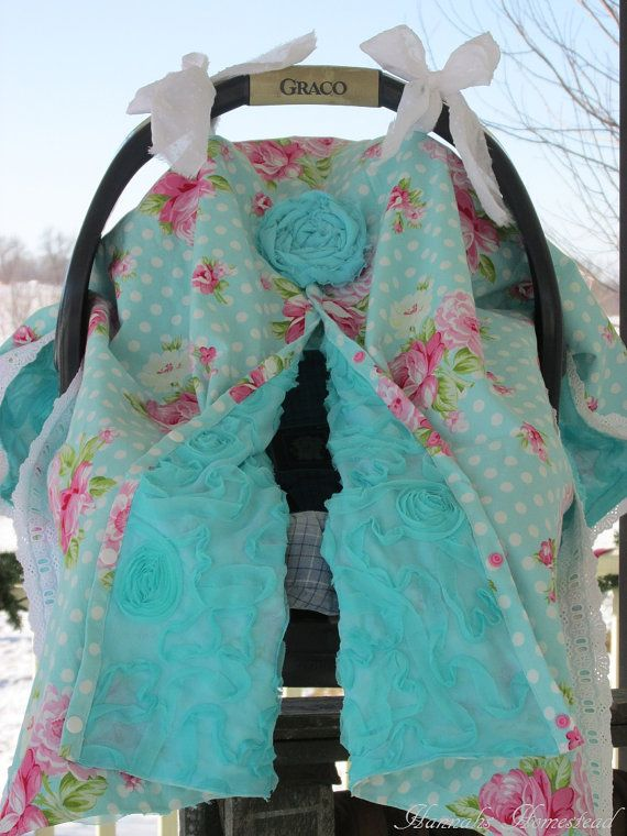 Rosey Roses with Mums Teal, Infant Carseat Cover-Up with Ties, Lined, Snap Opening Option, Gumdrop Chiffon Lining, Baby Canopy, Infant Cover