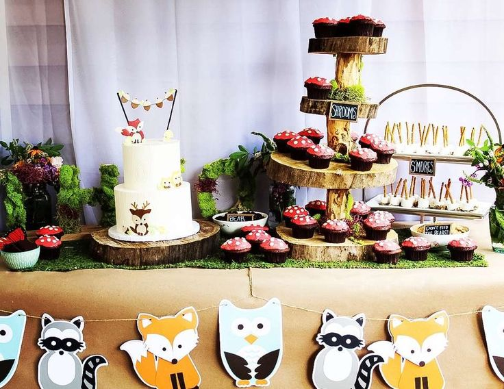 "Woodland Animals, Wild One / Birthday ""Theo's First Birthday Party""   Catch My Party"