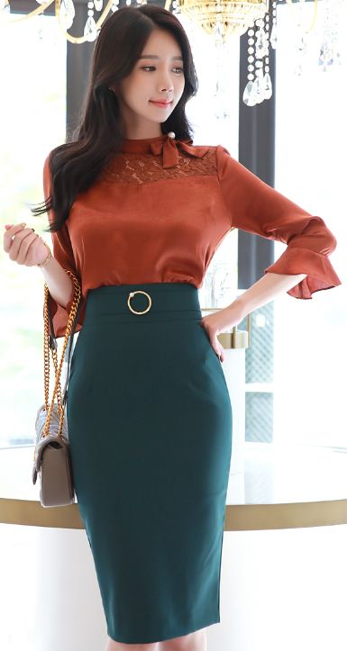 StyleOnme_Pearl Circle Buckle High-Waisted Pencil Skirt #green #pencilskirt #elegant #koreanfashion #kstyle #kfashion #seoul #falltrend