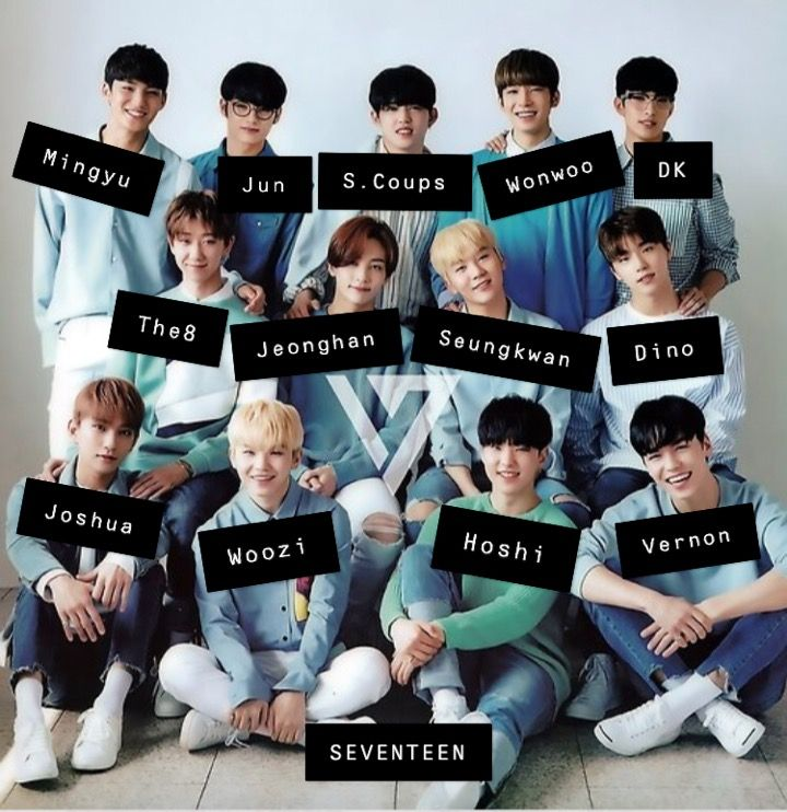 All The Seventeen Members With Faces Hope You Can Learn Their Names Easier With This Join The Diamond Life Seventeen Kpop Members Seventeen Kpop Seventeen