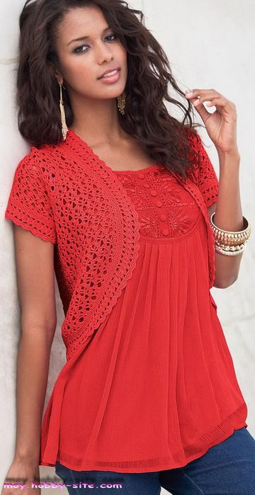 Crochet red bolero ♥LCT-MRS♥ with diagrams.