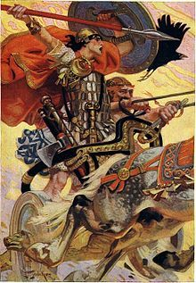 """""""Cú Chulainn in Battle, an artistic depiction of Iron Age Chariot warfare, though similar chariots were still used in Ireland for some time in the Early Middle Ages."""""""