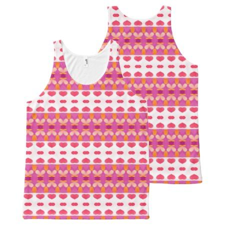 trendy abstract pattern pink heart All-Over-Print tank top - tap to personalize and get yours