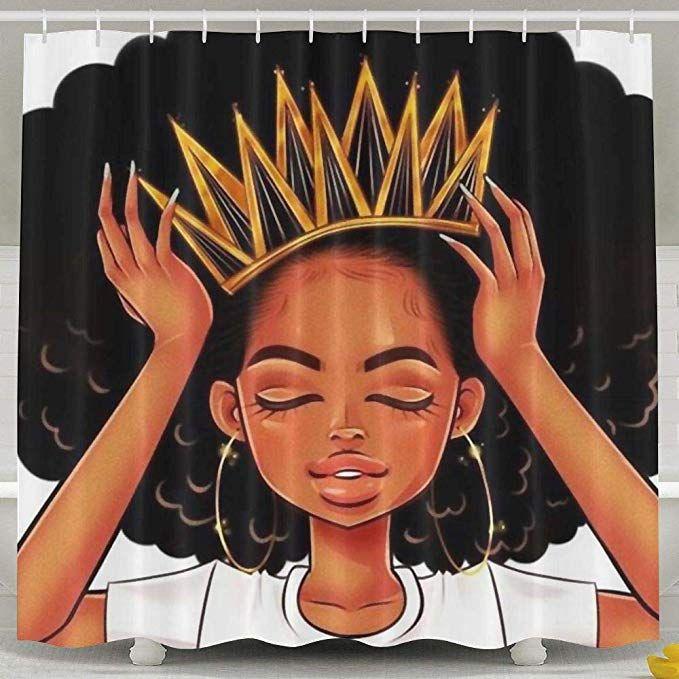 Amazon Com Sara Nell African American Women Girl With Crown Shower Curtain Waterproof Polyester Fabric Afro Girls Af Afro Girl Girls Shower Curtain Bath Girls