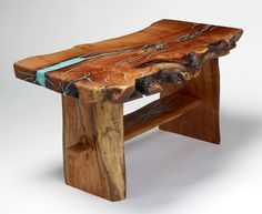 Wooden coffee table with turquoise inlay by Treestump Woodcrafts