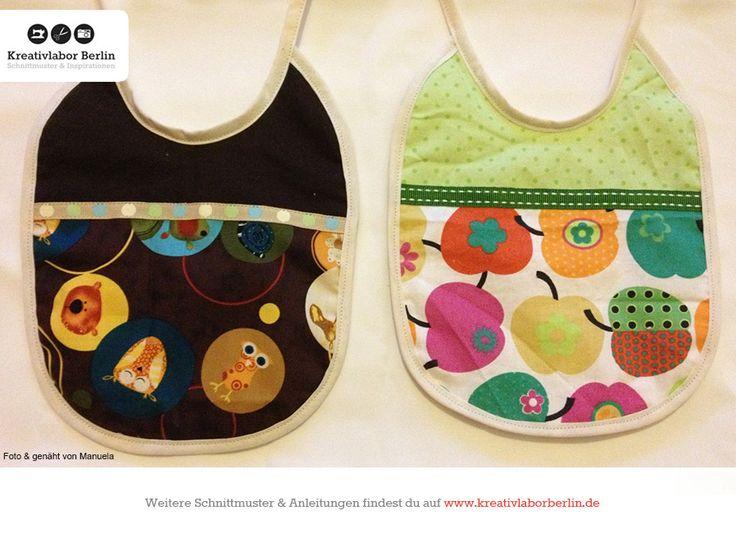 Babylätzchen nach meinem kostenlosen Schnittmuster: http://www.kreativlaborberlin.de/naehanleitungen-schnittmuster/suesse-baby-laetzchen-in-3-varianten/