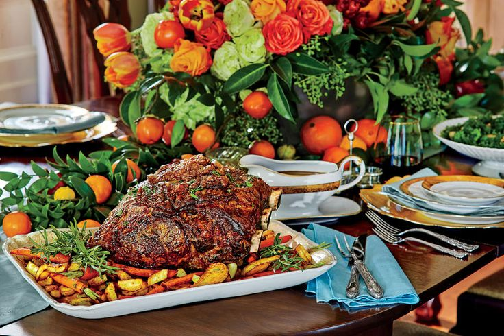 Peppercorn-Crusted Standing Rib Roast with Roasted Vegetables - 50 Top Rated  Recipes of 2016 - Southernliving. Recipe: Peppercorn-Crusted Standing Rib Roast with Roasted Vegetables  This prime rib roast is the show-stopping centerpiece of any holiday feast and is deceptively easy to prepare. Slather it with our special herbed butter the night before, and then let the oven do all the work.